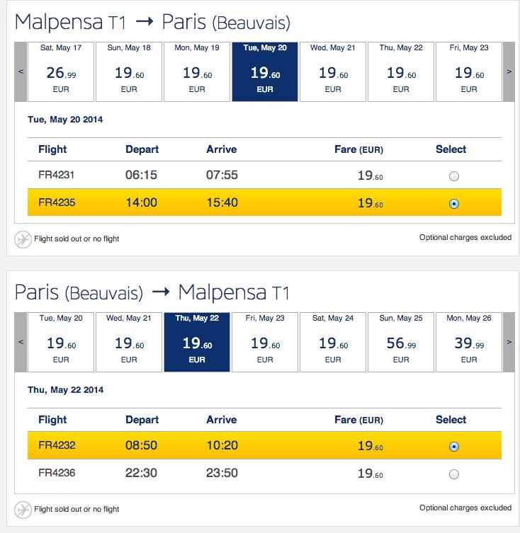 Ryanair Milano-Parigi