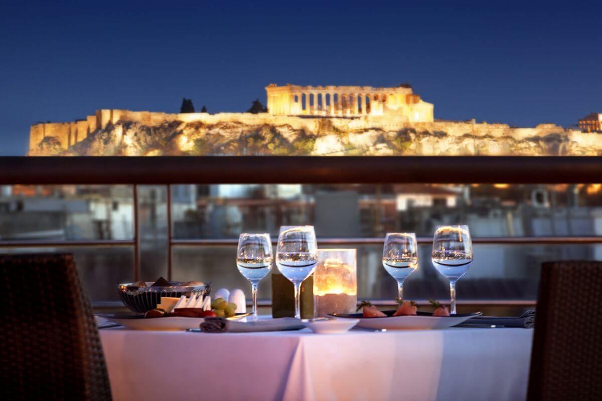 Vista do restaurante do Hotel Meliá Atenas hotéis com vista europa