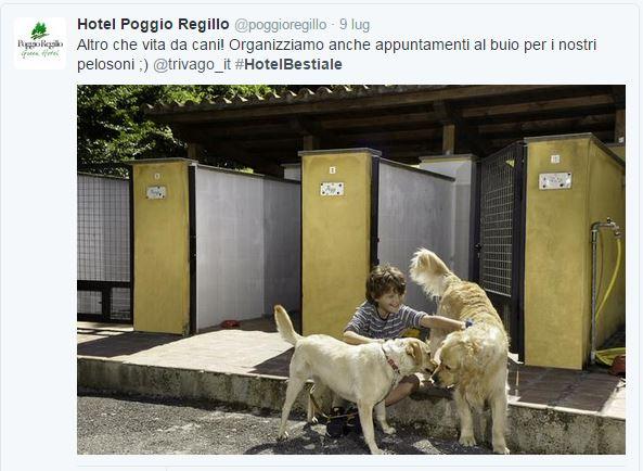 Il tweet dell'Hotel Poggio Regillo