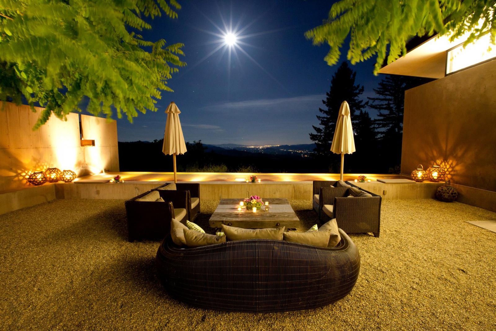 Night Courtyard, courtesy Plump Jack Estate Winery