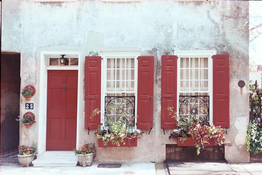 Beautiful red shutters in Charleston