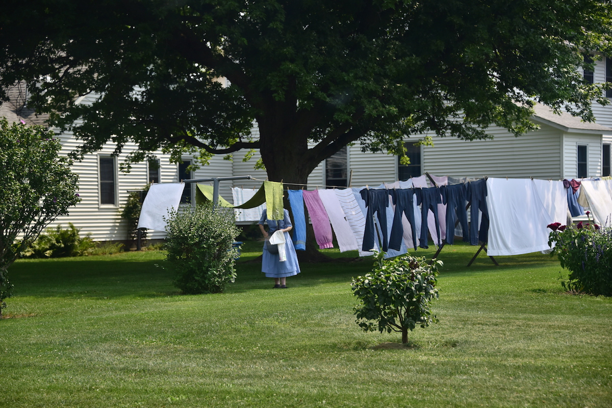 Amish Woman Doing Laundry