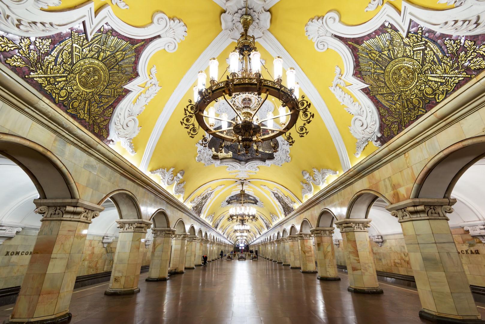The metro station Komsomolskaya in Moscow, Russia