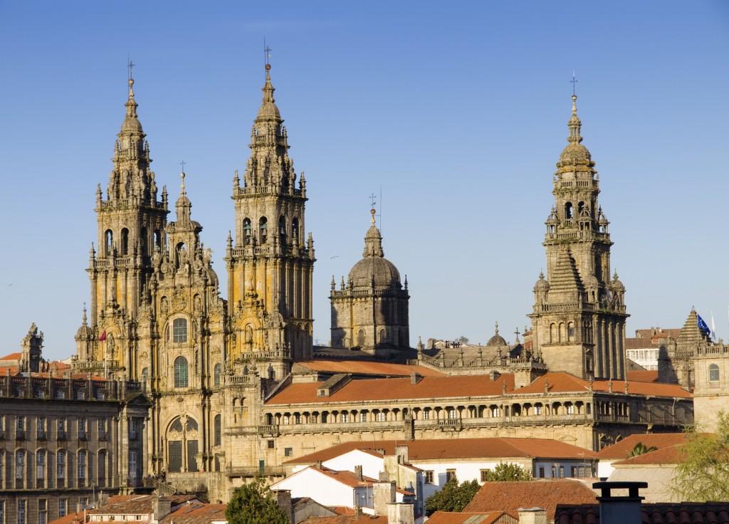 panorámica de la catedral de santiago de compostela
