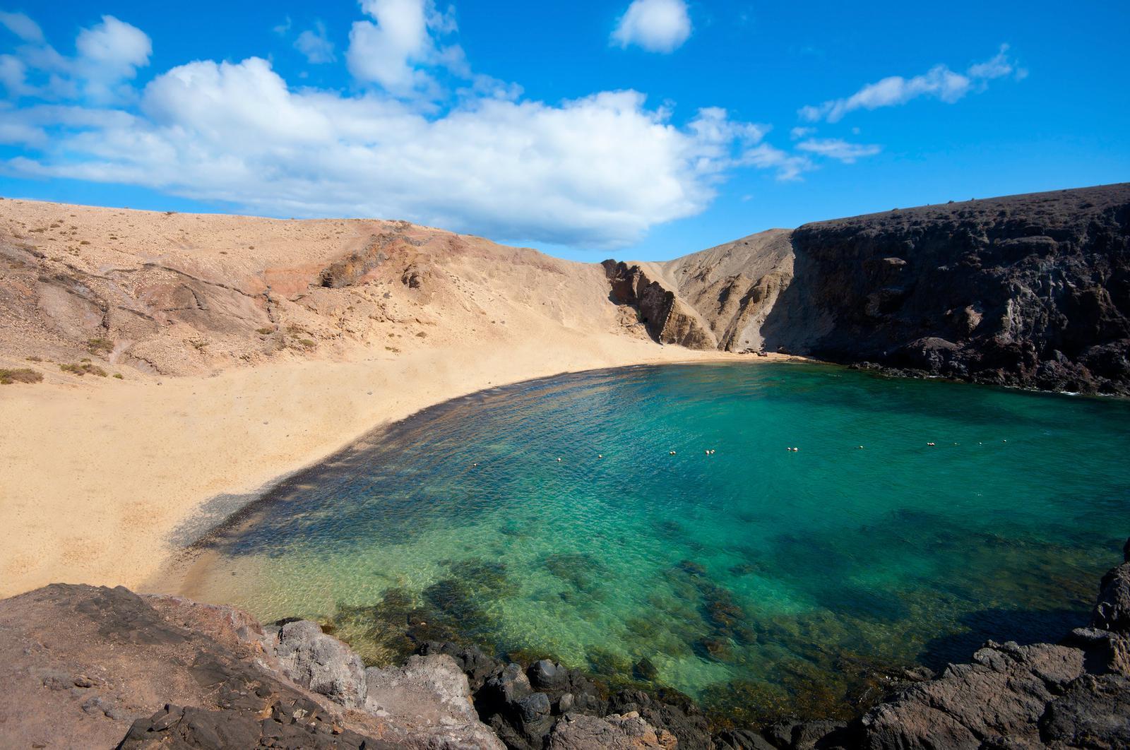 islas España Lanzarote, playa Papagayo, Islas Canarias.