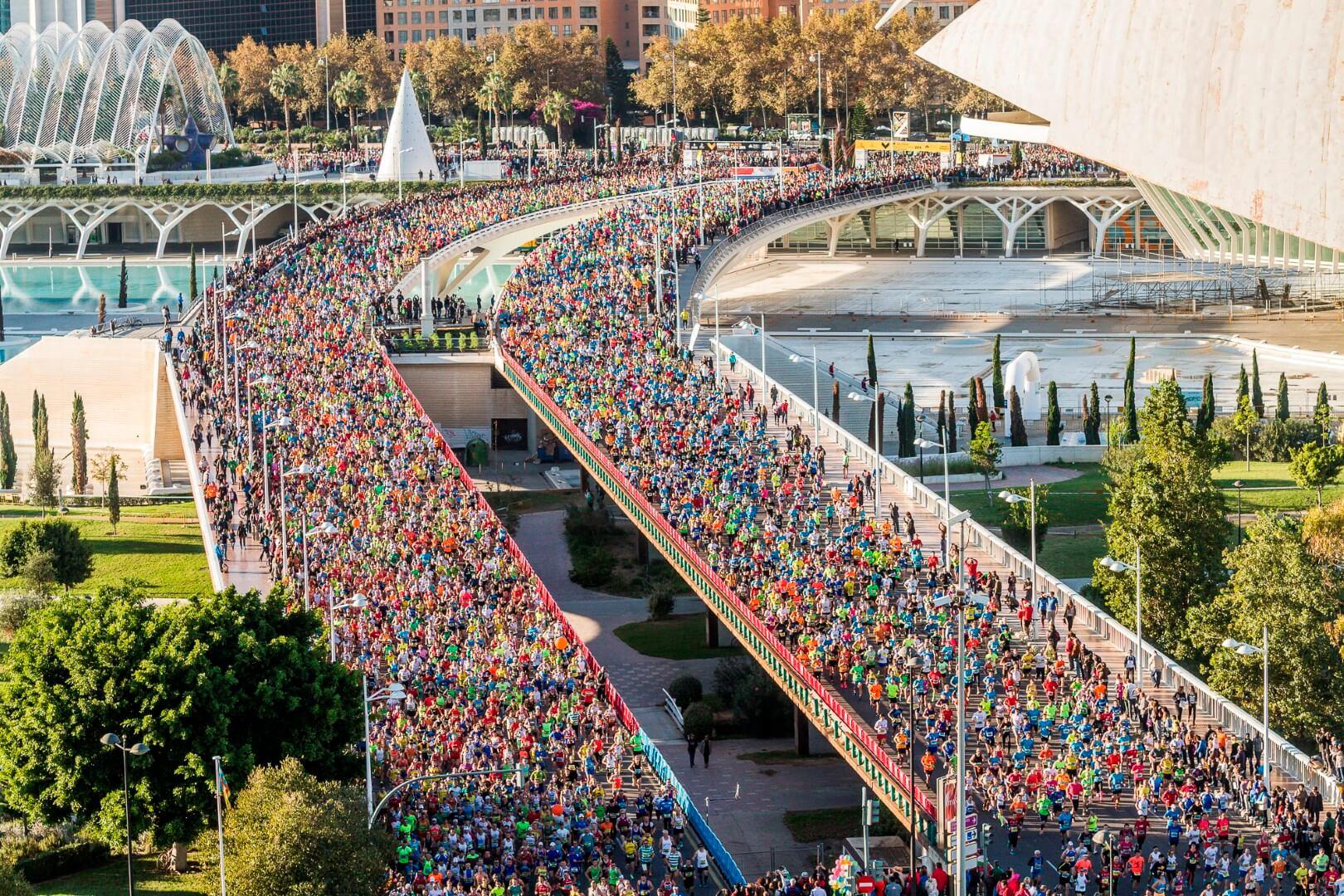 Maratón de Valencia. Vista aérea cercana