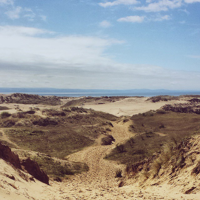 Explore sand dunes at Ogmore-By-Sea.