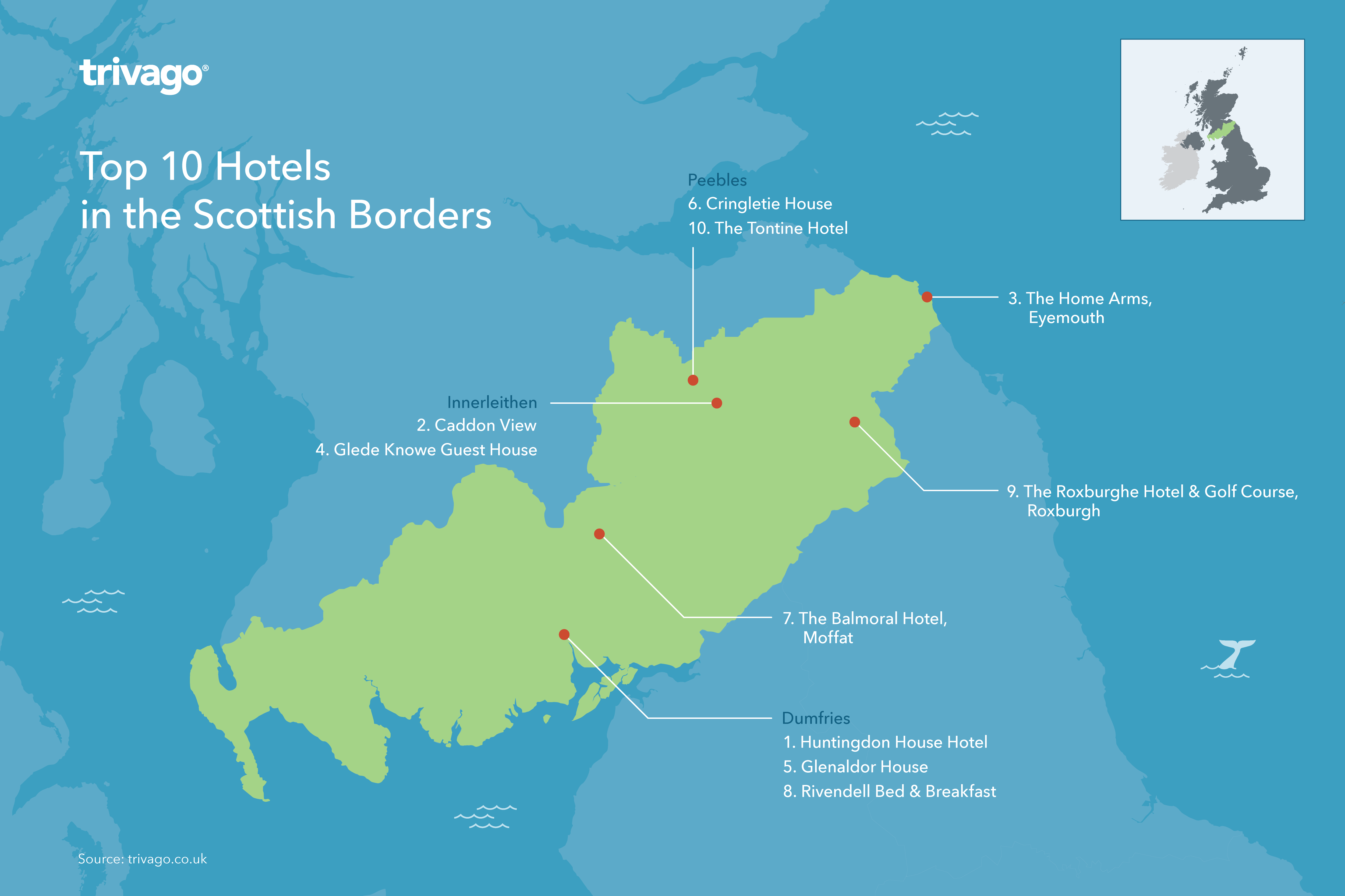 Top rated hotels Scotland Borders