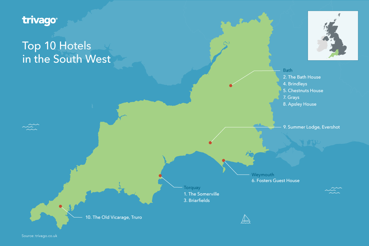 Top rated hotels UK - South West England