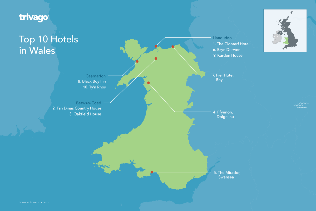 Top hotels Wales map