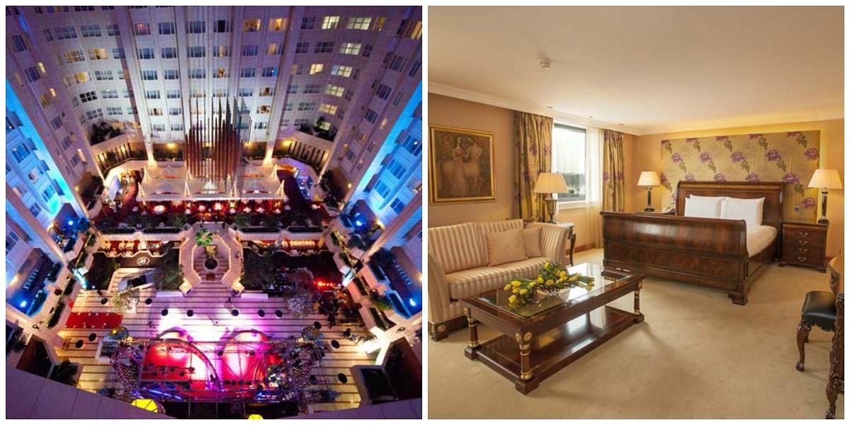 Lobby e suíte do Hilton Prague, em Praga hotéis para jogar poker