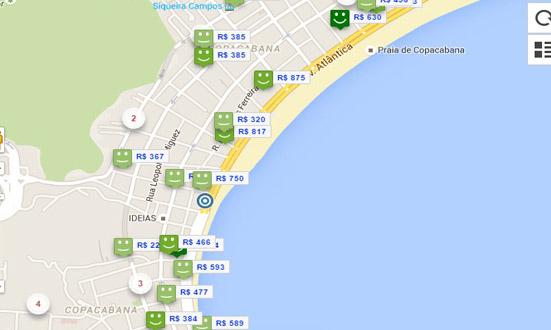 mapa hotéis praia de copacabana