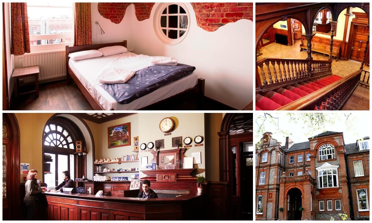 quarto, escada, recepção e entrada do Palmers Lodge Swiss Cottage em londres