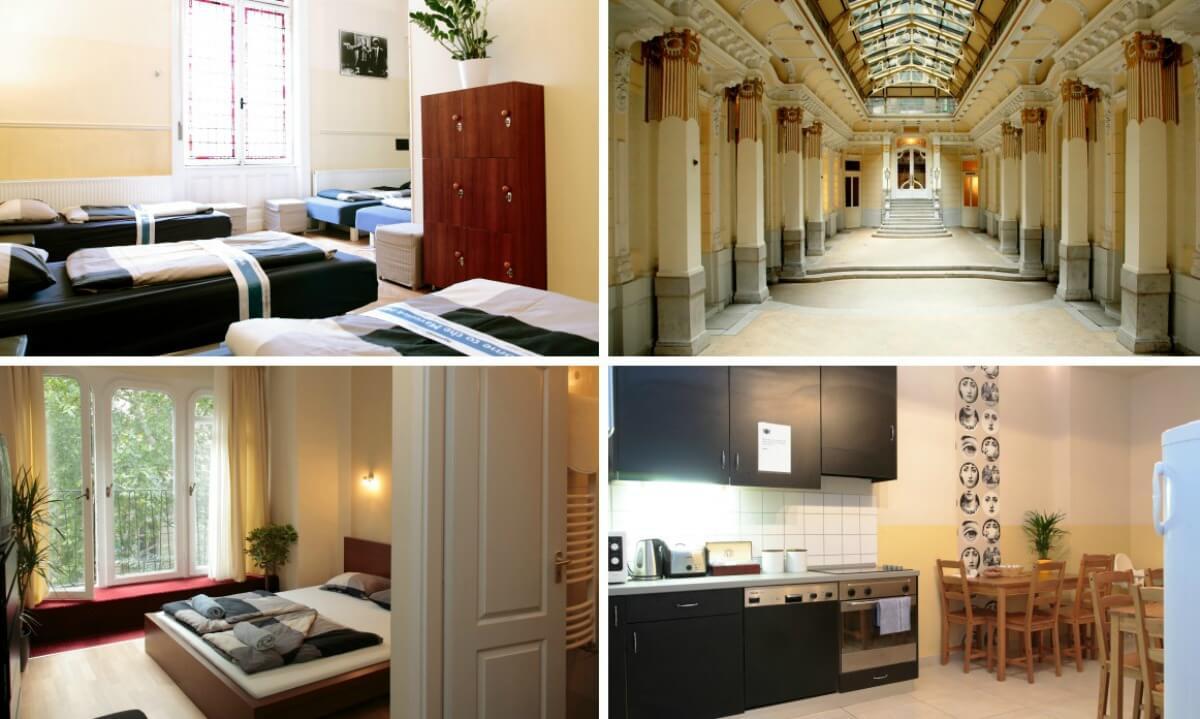 quarto, cozinha e saguão do maverick hostel em budapeste