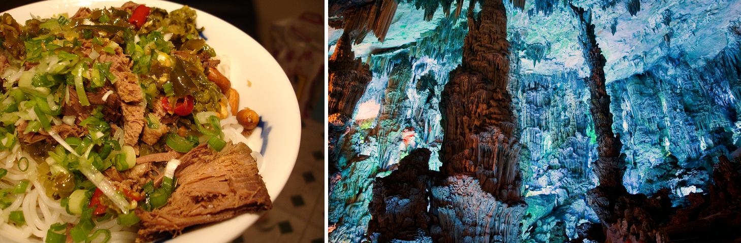 Plat de nouilles de riz de Guilain (gauche) ; Grotte de la flûte de roseau (droite) - Chine
