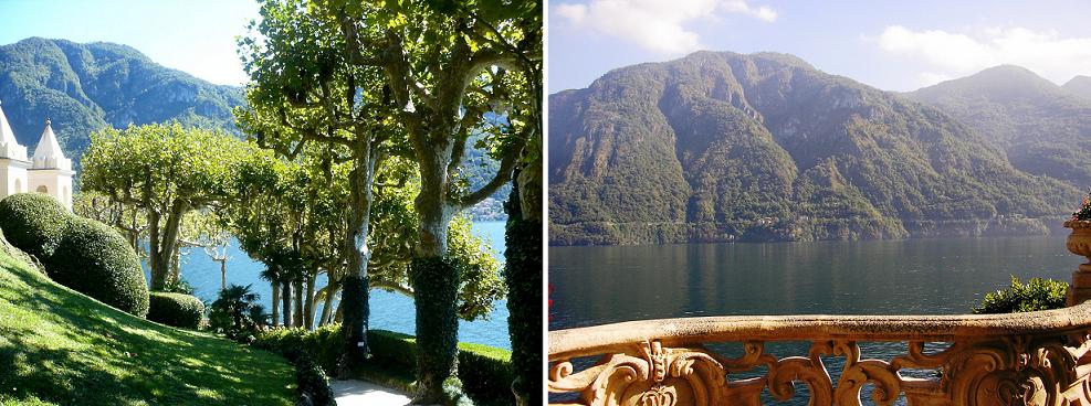 Jardin et terrasse de la Villa Balbianello avec vue sur le Lac de Côme - Italie
