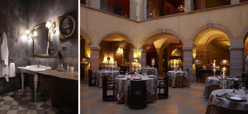 Salle de bain et restaurant  - Hôtel Cour des Loges - Lyon