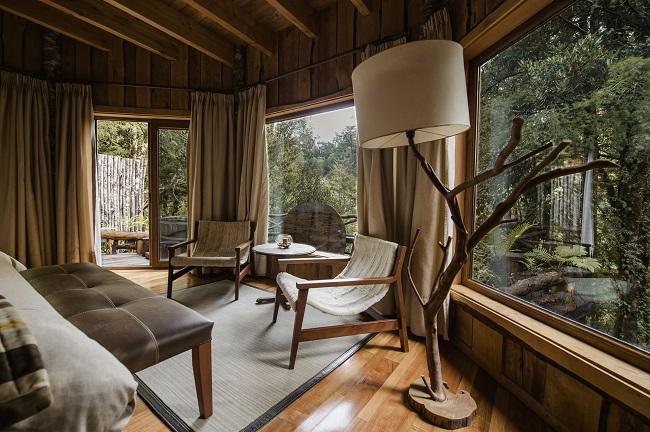 Chambre du Lodge Nawelpi, situé dans la réserve Huilo Huilo