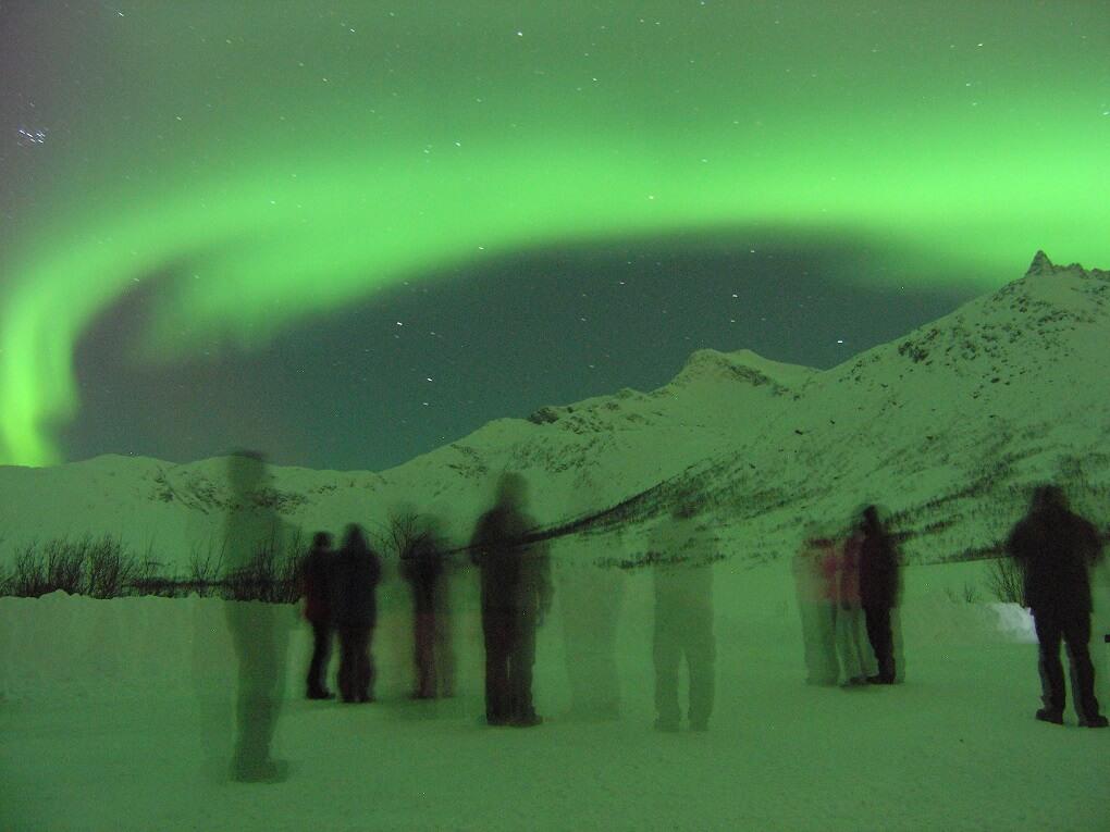 Spectateurs d'une aurore boréale à Tromso - Laponie Norvégienne