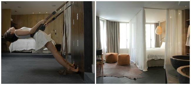 Yoga Wall et chambre Hidden Hotel Paris