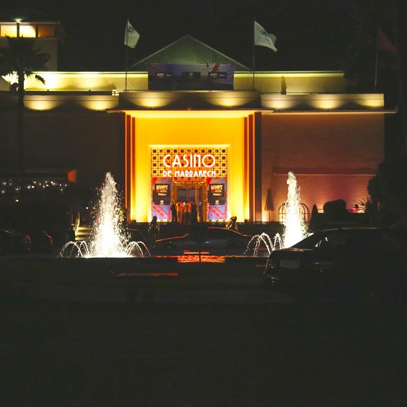 Vue de nuit du casino de l'hôtel Es Saadi Marrakech