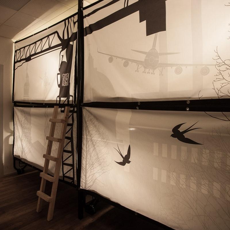 Dortoirs avec rideaux du Copenhagen Backpackers à Copenhague