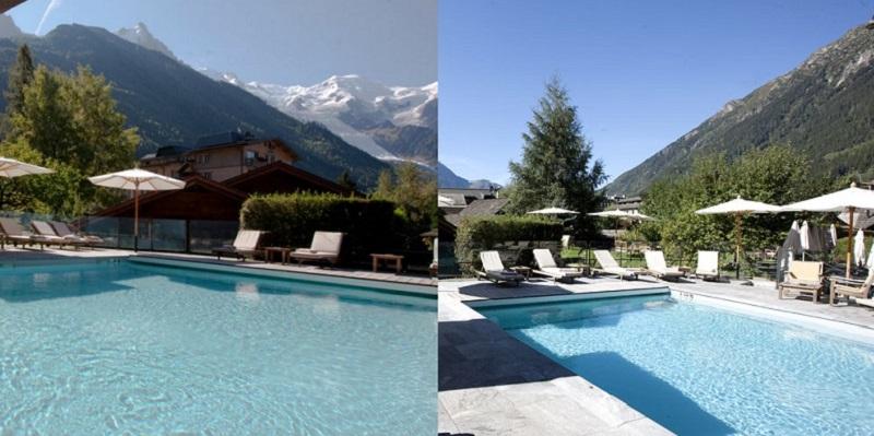 Vue sur la piscine et les montagnes dans l'hôtel Le Hameau Albert 1er ***** à Chamonix