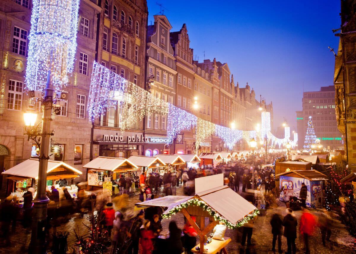 Weihnachtsmarkt in Breslau Polen