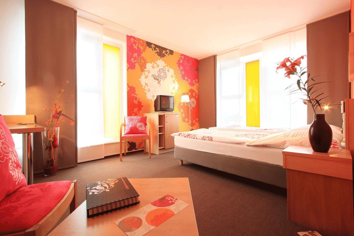 Ein Doppelzimmer im Junges Hotel Hamburg.
