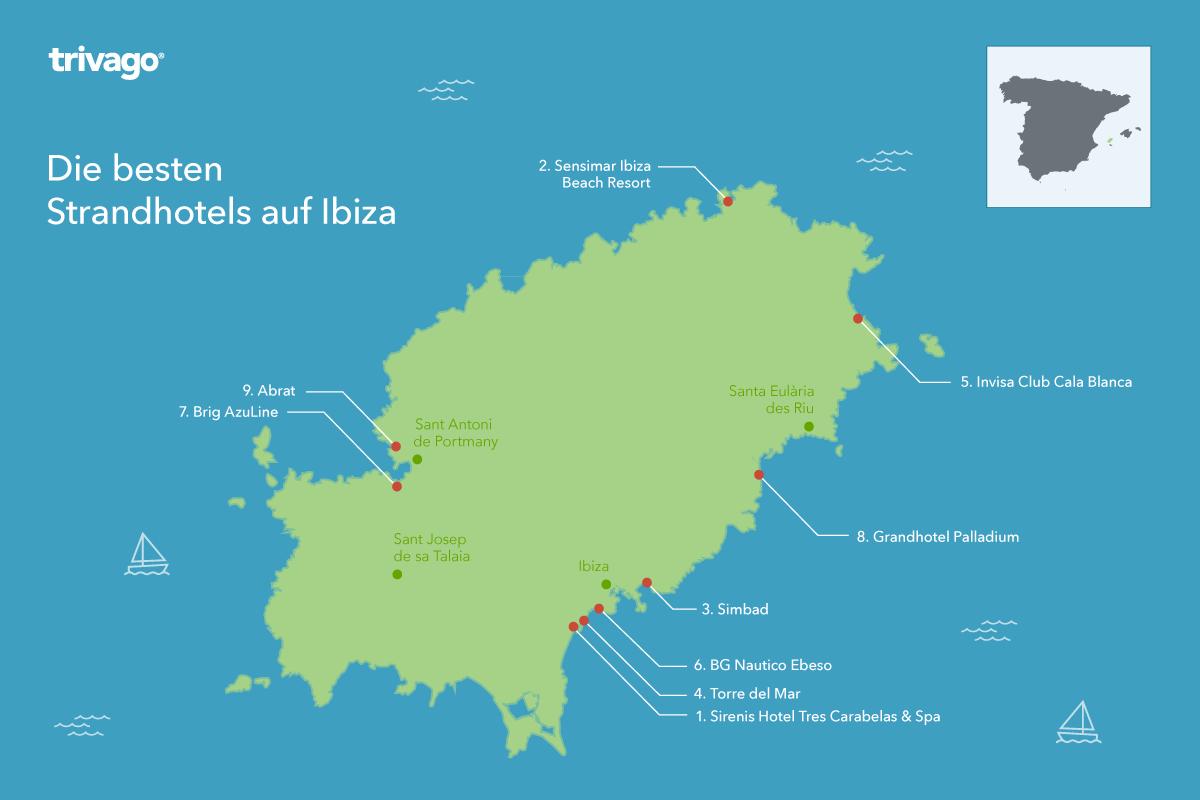 Karte beste Strandhotels Ibiza