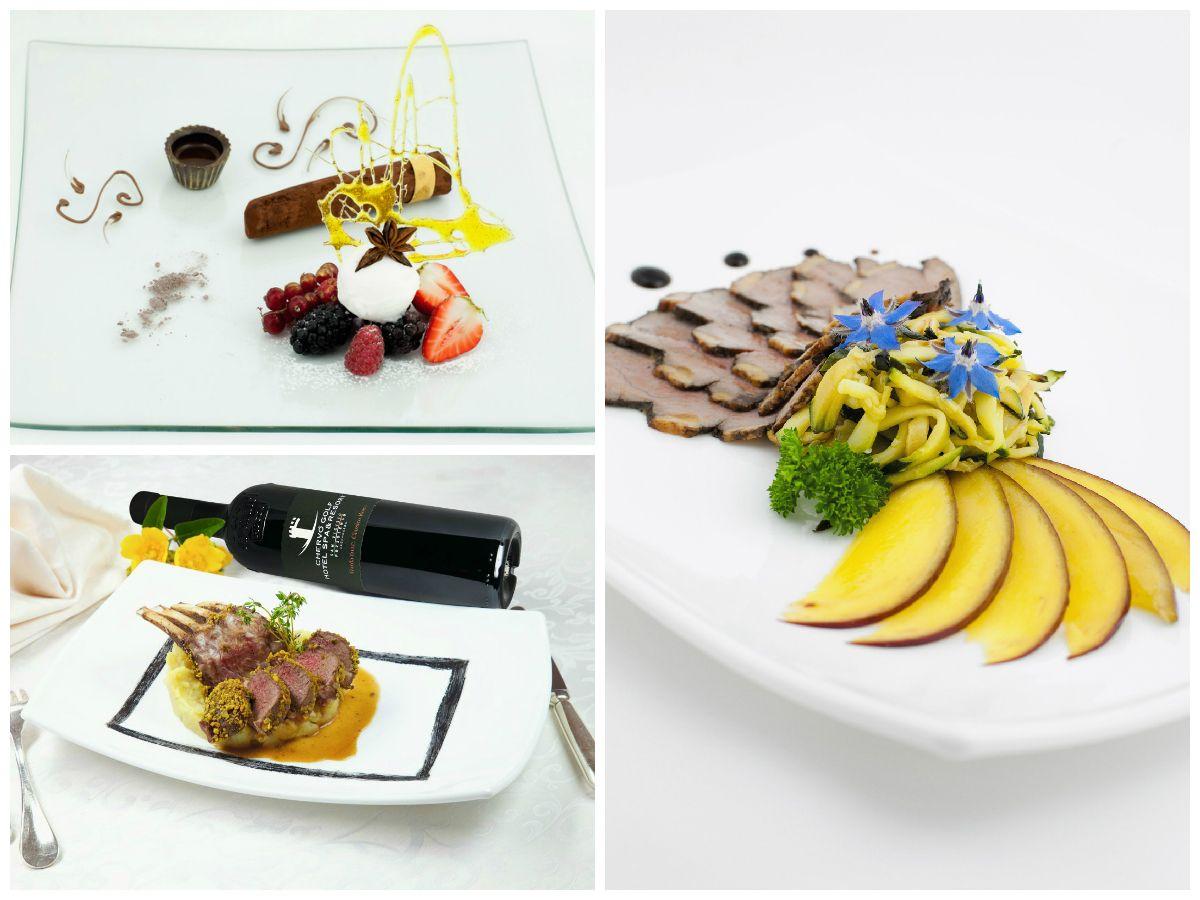 Veschiedene Gerichte des Restaurant San Vigilio
