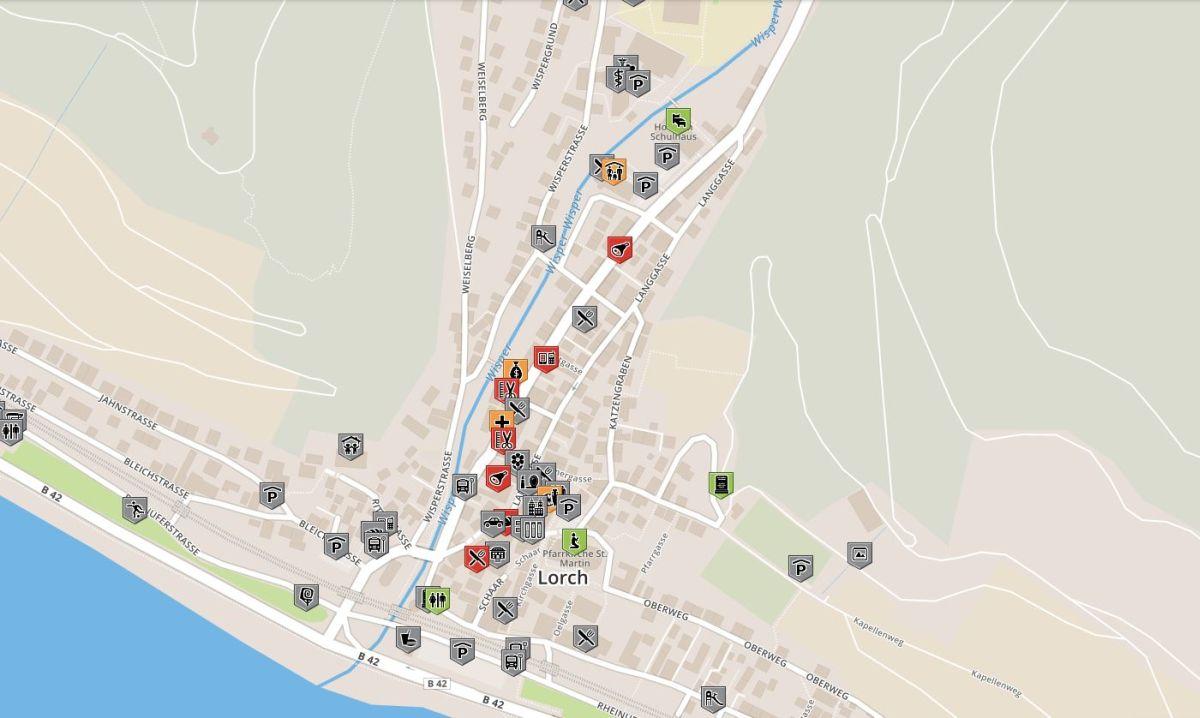 Karte für rollstuhlgerechte Orte im Schulhaus