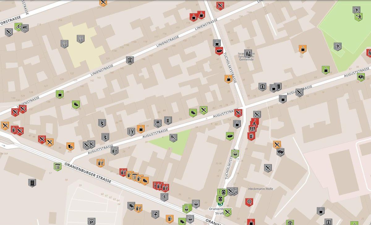 Karte für rollstuhlgerechte Orte im Augustinenhof