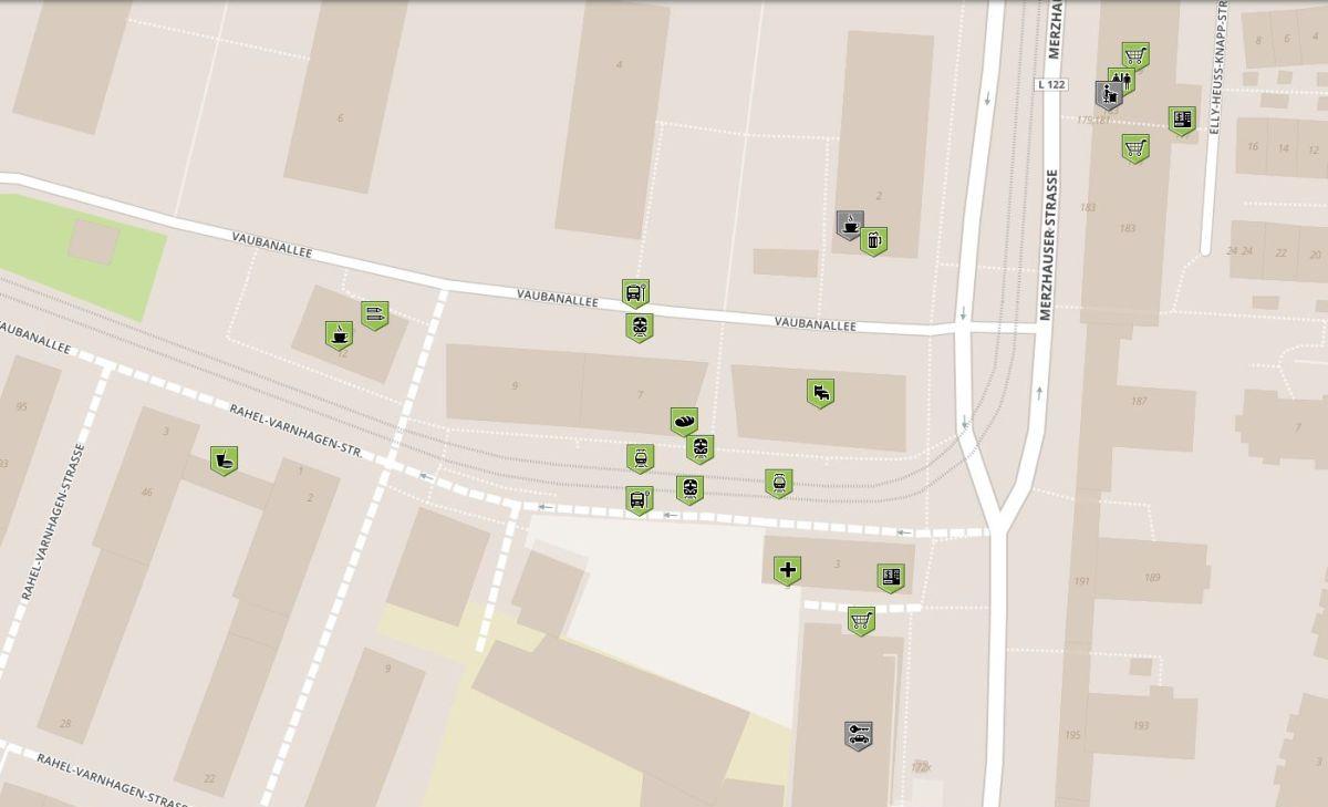 Karte für rollstuhlgerechte Orte im Green-City Vauban