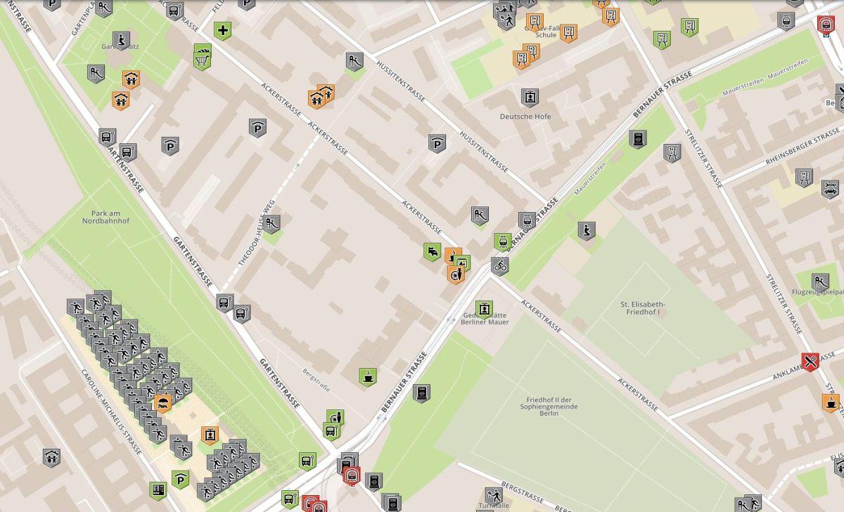 Karte für rollstuhlgerechte Orte im Grenzfall