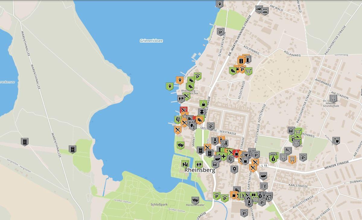 Karte für rollstuhlgerechte Orte im Rheinsberg