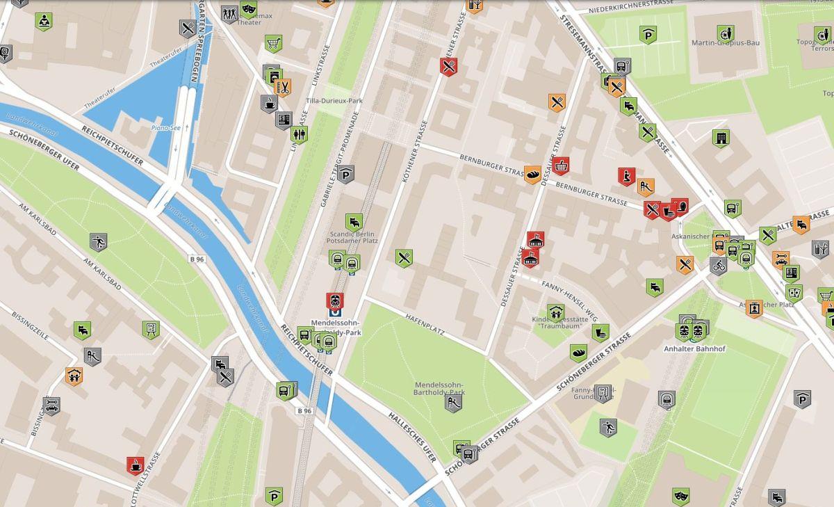 Karte für rollstuhlgerechte Orte im Scandic