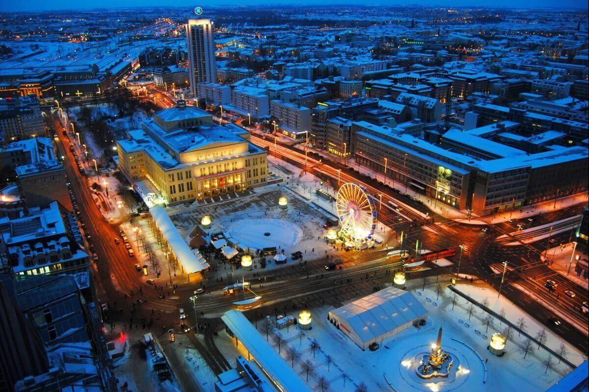 Leipziger Augustusplatz zu Weihnachten