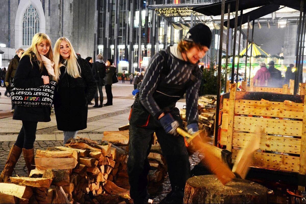 das Finnische Dorf auf dem Leipziger Weihnachtsmarkt