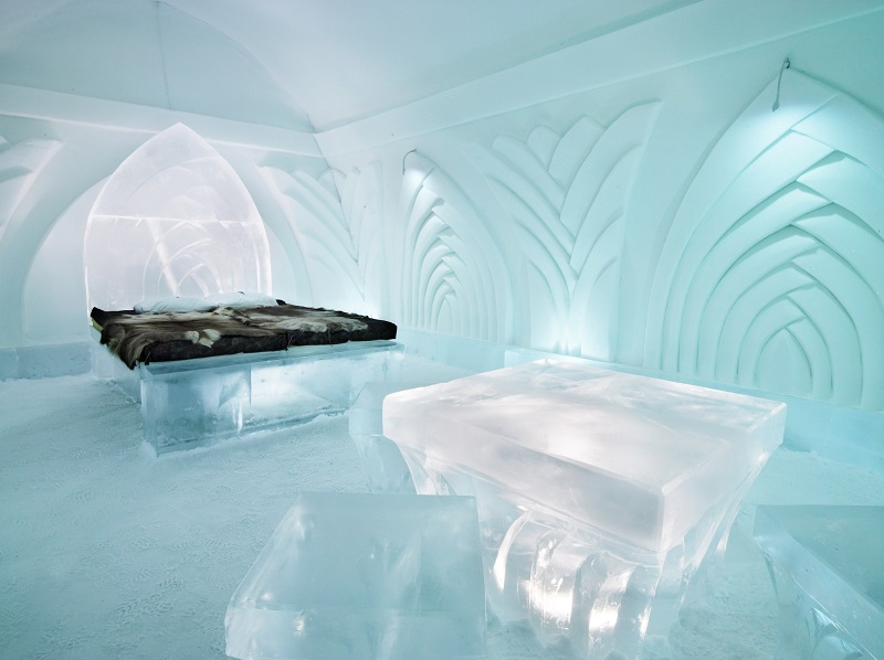 Le camera dell'Ice Hotel, Jukkasjärvi in Svezia