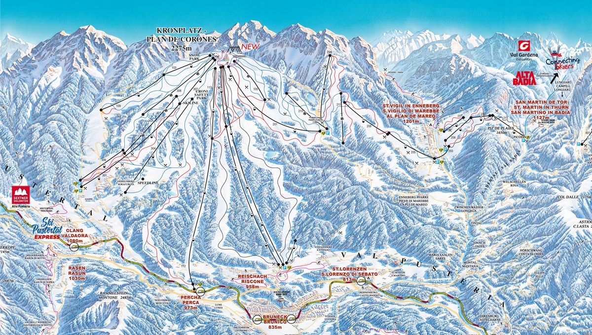 "Cartina panoramica del ""panettone sciabile"" Plan de Corones – Fonte: Consorzio turistico Plan de Corones"