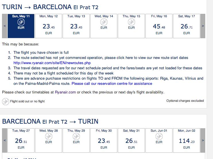 Ryanair - Torino - Barcellona