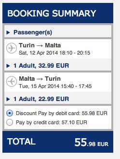Screenshot della prenotazione Ryanair