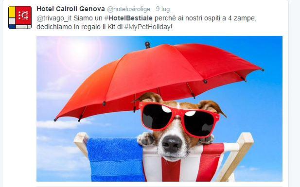 Il tweet dell'Hotel Cairoli