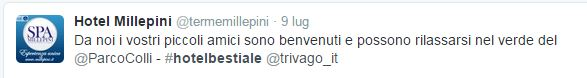 Il tweet dell'Hotel Millepini