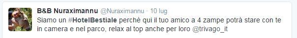 Il tweet del B&B Nuraximannu