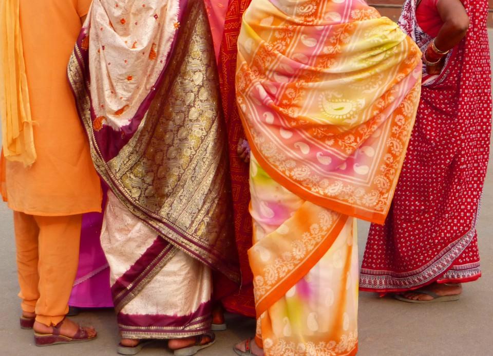 Colorful saris in Delhi, India.