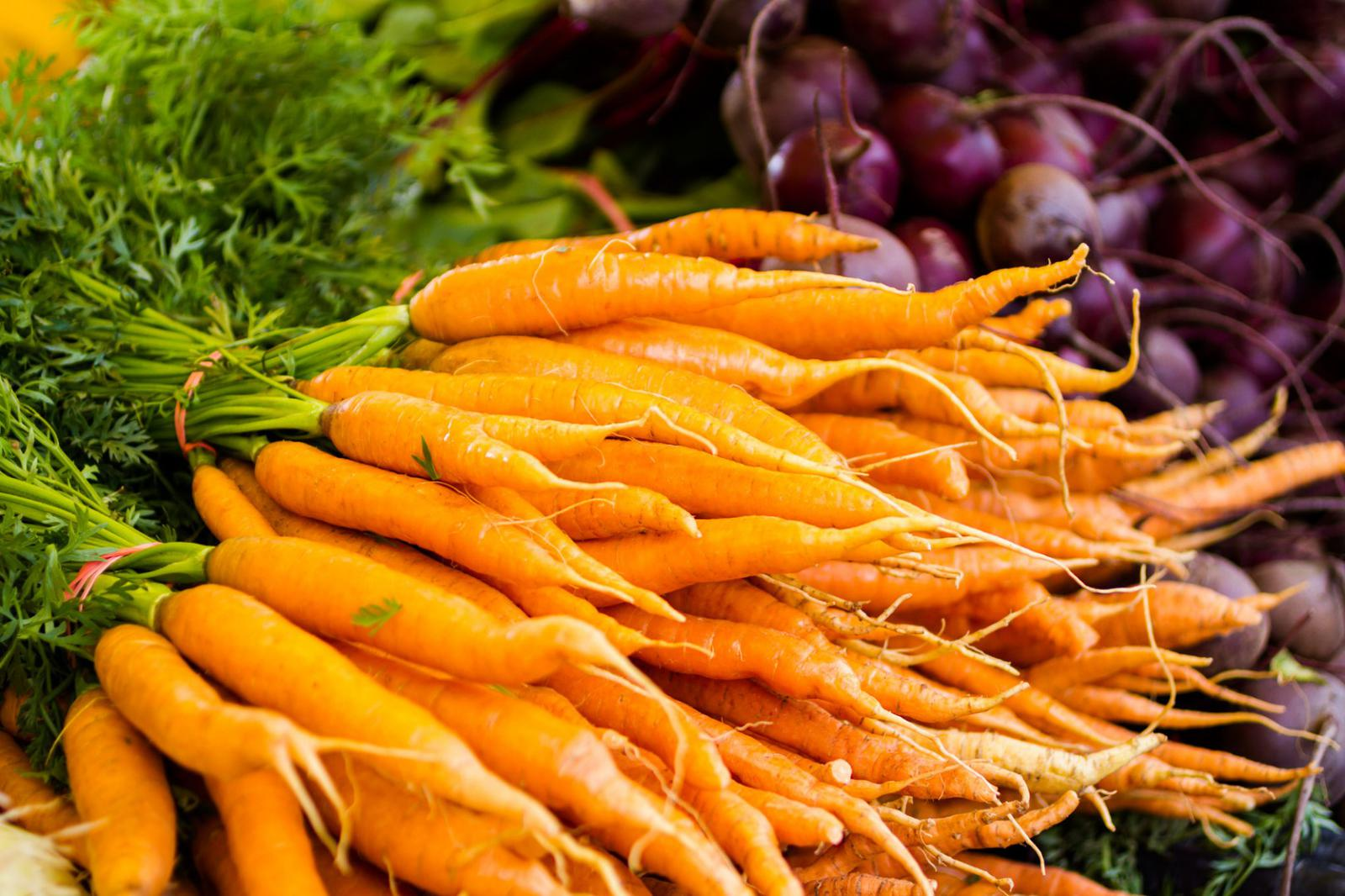 Local organic carrots at the Farmers market in Virginia Beach