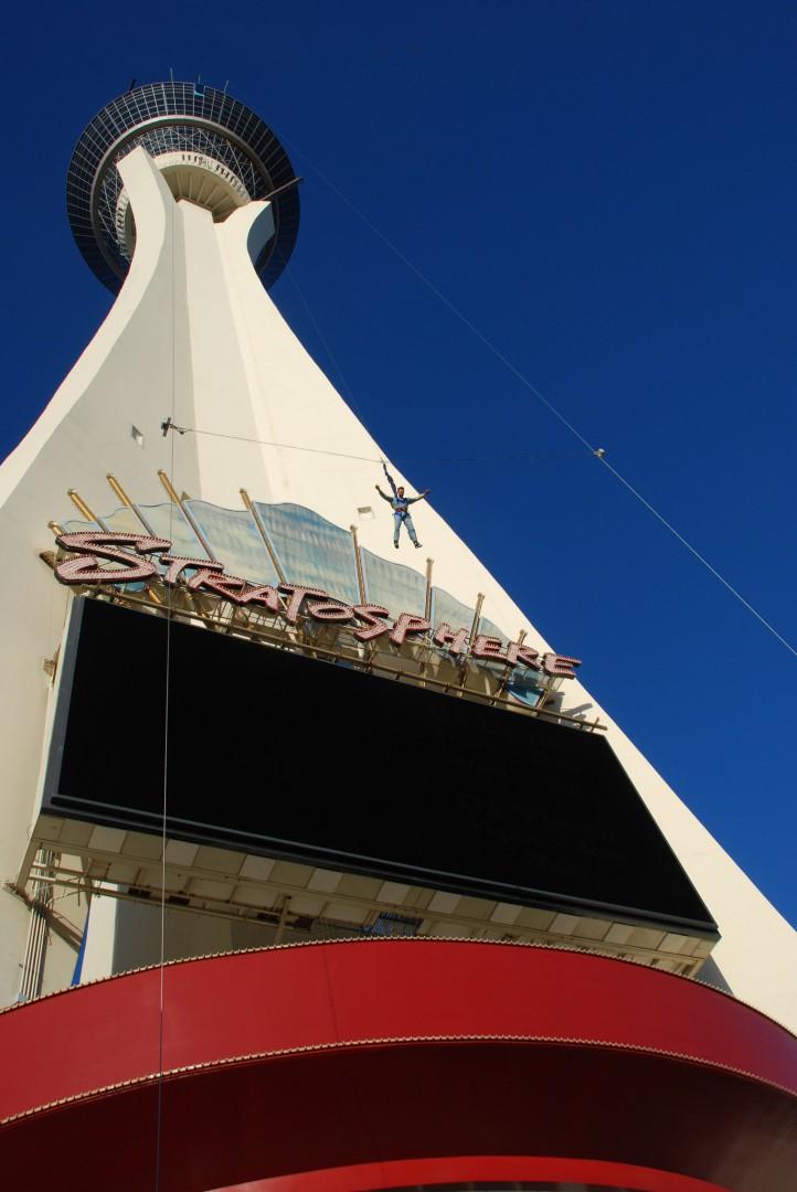 Skyjump at Stratosphere tower Amusement Park Las Vegas Nevada