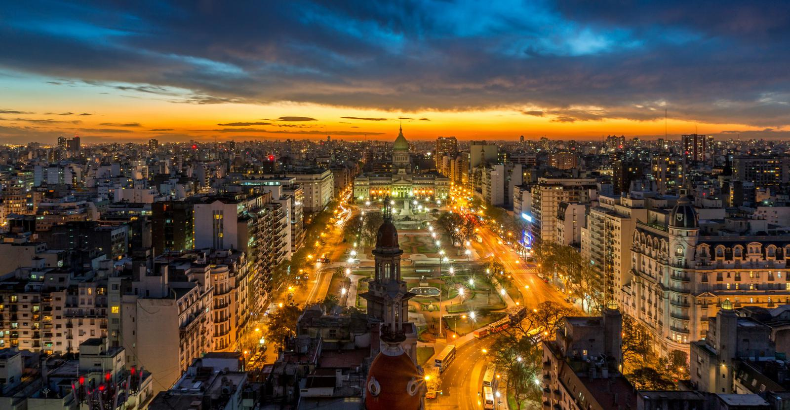 Buenos Aires lights at night